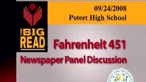 Thumbnail for entry Fahrenheit 451 Newspaper Panel Discussion-Part 1