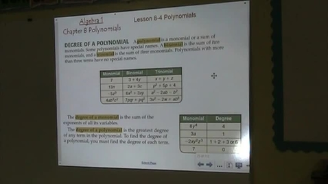 Thumbnail for entry Alg Lesson 8-4 Polynomials