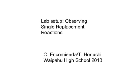 Thumbnail for entry Observing Single Replacement Reactions