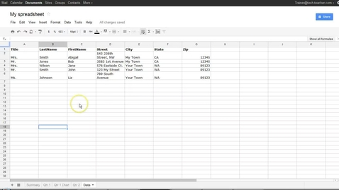 Thumbnail for entry Google® Spreadsheets Sorting and Filtering