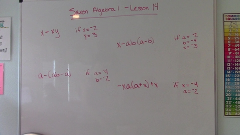 Thumbnail for entry Saxon Algebra 1 - Lesson 14- Evaluation of Algebraic Expressions