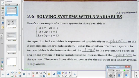 Thumbnail for entry Solving a system of 3 equations algebraically
