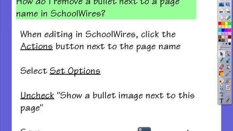 Thumbnail for entry SchoolWires:  Remove Bullet Images Next to a Page Name