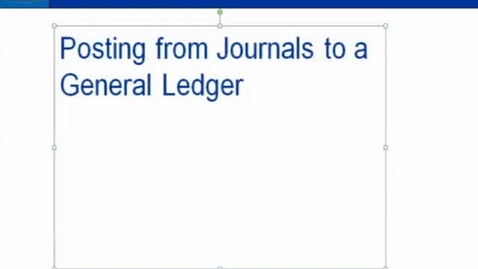 Thumbnail for entry Lesson 11-3:  Posting from Journals to a General Ledger