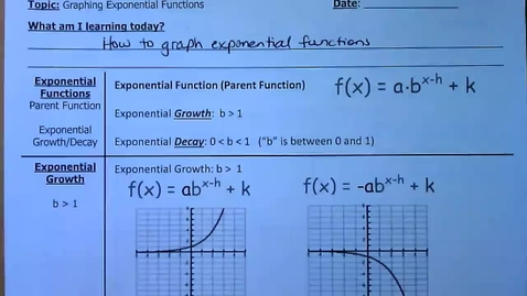 Thumbnail for entry Guided Notes - Graphing Exponential Functions