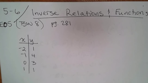 Thumbnail for entry Adv Mth BD E05 (TSW 8) Inverse Relations & Functions