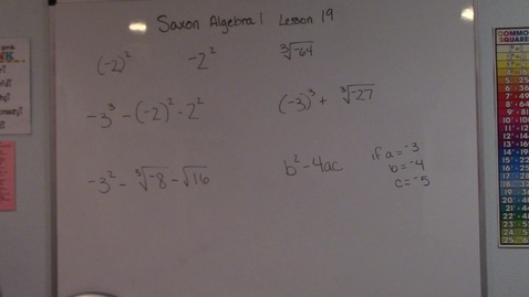 Thumbnail for entry Saxon Algebra 1 - Lesson 19 - Exponents & Roots
