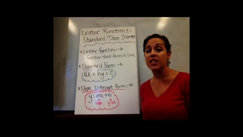Thumbnail for entry Pre-Alg - Sect 6-6 Linear Functions: Standard Form & Slope-Intercept Form