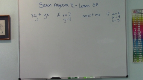 Thumbnail for entry Saxon Algebra 1/2 - Lesson 32 - Variables and Evaluation