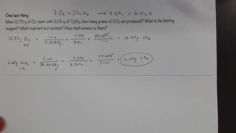 Thumbnail for entry Determining the amount of excess in a limiting reagent problem - method 2