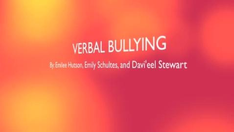 Thumbnail for entry Verbal Bullying