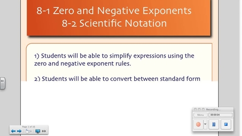 Thumbnail for entry 8-1 Zero and Negative Exponents and 8-2 Scientific Notation