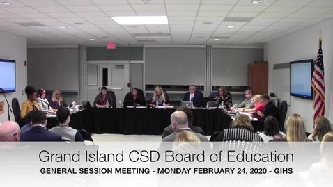 Thumbnail for entry Grand Island BOE Meeting 2-24-2020