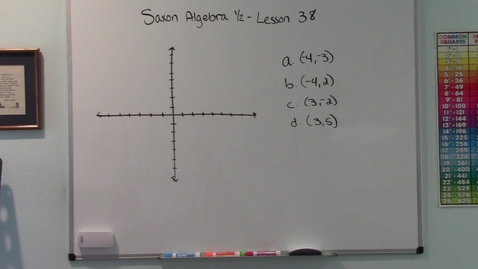 Thumbnail for entry Saxon Algebra 1/2 - Lesson 38 - Rectangular Coordinates