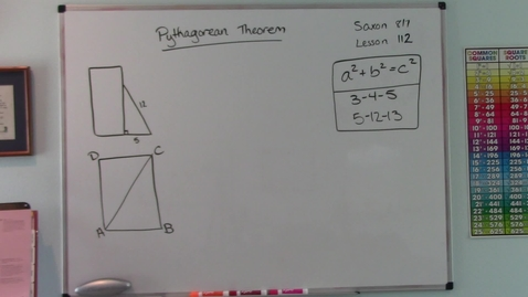 Thumbnail for entry Saxon 8/7 - Lesson 112 - Applications of the Pythagorean Theorem