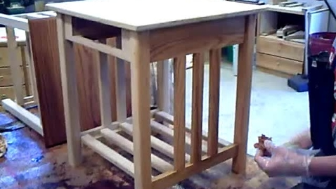 Thumbnail for entry Staining 8th Grade Oak Tables