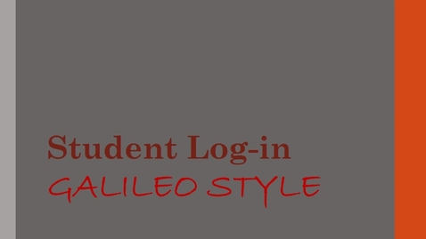 Thumbnail for entry Galileo Log-In