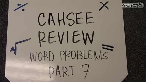 Thumbnail for entry Word Problems PART VII