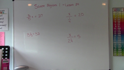 Thumbnail for entry Saxon Algebra 1 - Lesson 24 - Multiplication Property of Equality