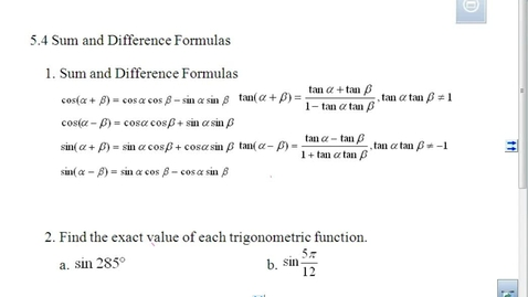 Thumbnail for entry Sum and Difference Formulas Lesson