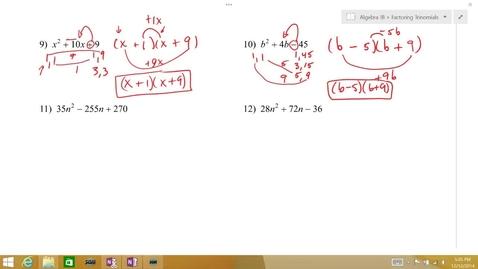 Thumbnail for entry Algebra 1B Lesson 08 #11-12