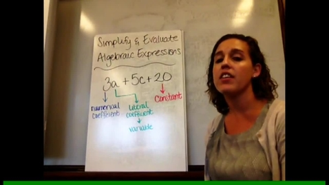Thumbnail for entry Pre-Alg - Sect 3-2 Simplify & Evaluate Algebraic Expressions