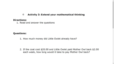 Thumbnail for entry Activity 3 Extend your mathematical thinking