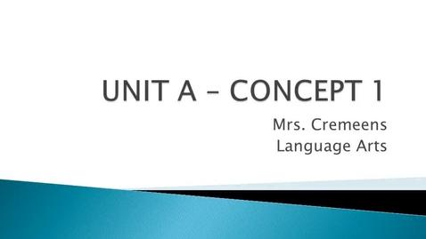 Thumbnail for entry Unit A - Concept 1 Video