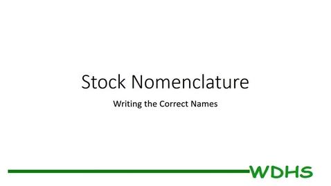 Thumbnail for entry Stock Nomenclature - Writing Correct Names