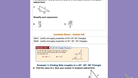 """Thumbnail for entry GeoA Lesson 5:8 """"Special Right Triangles"""""""