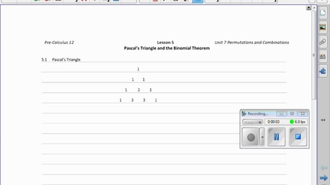 Thumbnail for entry PC30  11.3 Binomial Theorem