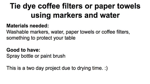 Thumbnail for entry Paper towel and coffee filter tie dye instructions