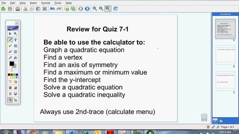 Thumbnail for entry Review for Quiz 7-1
