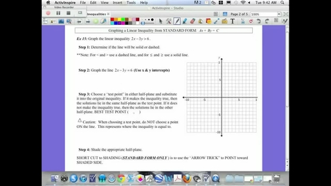Thumbnail for entry 3.6  Graphing a Linear Inequality