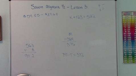 Thumbnail for entry Saxon Algebra 1/2 - Lesson 3 - Subtraction - Missing Numbers