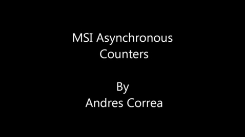Thumbnail for entry MSI Asynchronous Counters