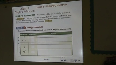 Thumbnail for entry Alg Lesson 8-1 Multiplying Monomials