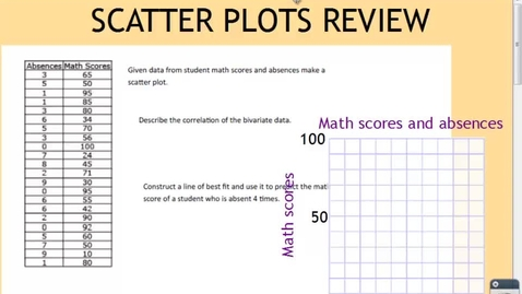 Thumbnail for entry SCATTER PLOT/FOUNDATIONS REVIEW PART 1