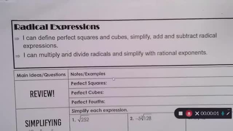 Thumbnail for entry 8-25 Pre Calc Radical Expressions Simplify Add and Subtract