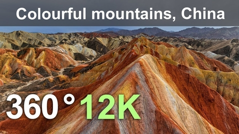 Thumbnail for entry China, Colourful mountains of the Zhangye Danxia Geopark, 12K aerial 360 video
