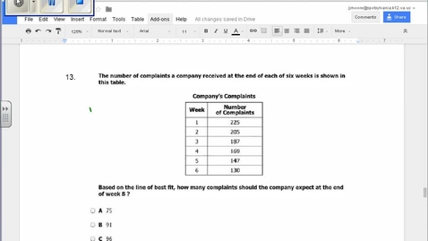 Thumbnail for entry SOL Review Question 13 Statistics Line of Best Fit