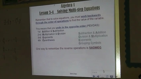 Thumbnail for entry Alg Lesson 3-4 Solving Multi-Step Equations Part 1