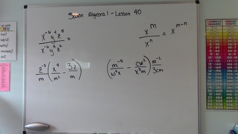 Thumbnail for entry Saxon Algebra 1 - Lesson  40 - Quotient Rule & Distributive Property of Rational Expressions