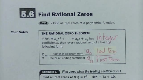 Thumbnail for entry Alg 2 Sec 5.6 Find Rational Zeros Part A