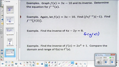 Thumbnail for entry Inverse relations and functions lesson pt 2  9-22-15