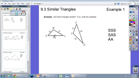 Thumbnail for entry 9.3 Similar Triangles Example 1