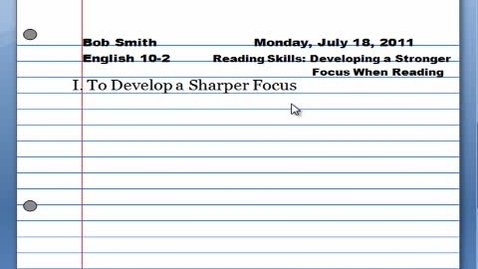 Thumbnail for entry Reading Skills Developing a Stronger Focus When Reading
