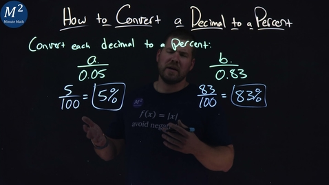 Thumbnail for entry How to Convert a Decimal to a Percent | Part 1 of 2 | Convert 0.05 and 0.83 to a Percent