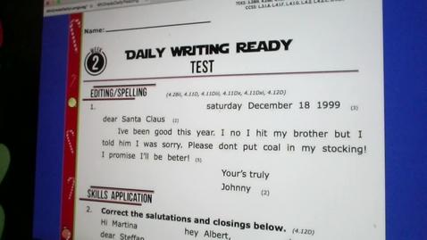 Thumbnail for entry Writing Test-Thursday, December 3