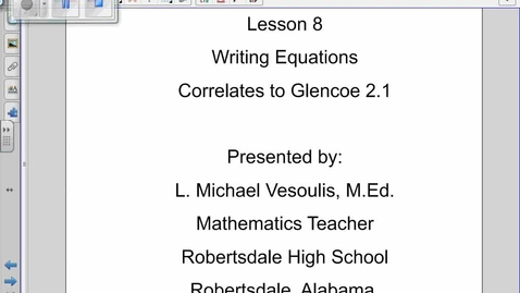 Thumbnail for entry Writing Equations